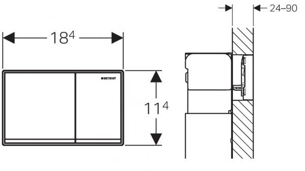 Rysunek techniczny przycisku spłukującego Geberit Omega 60 115.081.GH.1-image_Geberit_115.081.GH.1_3