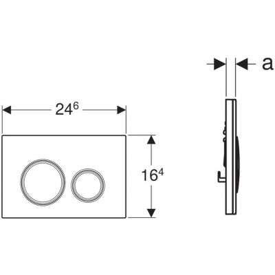 Wymiary przycisku spłukujacego Geberit Sigma21 szkło piaskowe-image_Geberit_115.884.TG.1_3