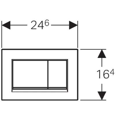 Rysunek z wymiarami technicznymi przycisku spłukującego Geberit Sigma 30 115 883 KK 1 pasującego do spłuczek Geberit Duofix UP320. -image_Geberit_115.883.KK.1_3