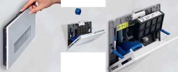 Obrazek przedstawiający w jaki sposób uzupełnić kostkę higieniczną w przycisku Geberit Sigma40.-image_Geberit_115.600.SQ.1_5
