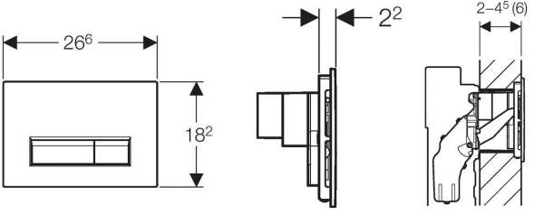 Rysunek techniczny przycisku spłukującego Geberit Sigma 40 115.600.KR.1-image_Geberit_115.600.KR.1_3