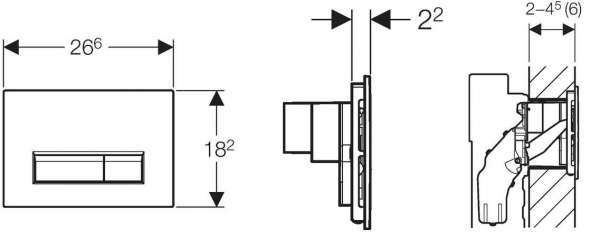 Rysunek techniczny przycisku spłukującego Geberit Sigma 40 115.600.SI.1-image_Geberit_115.600.SI.1_3