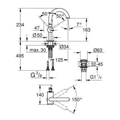 Rysunek techniczny baterii umywalkowej 32043003-image_Grohe_32043003_2