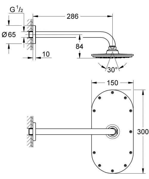 Rysunek techniczny zestawu prysznicowego Grohe Rainshower 26058000-image_Grohe_26058000_4