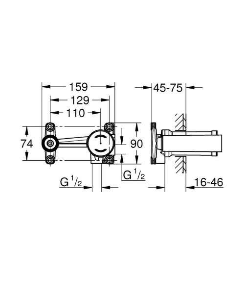 Wymiary techniczne podtynkowego elementu o baterii umywalkowych Grohe 23571000-image_Grohe_23571000_3