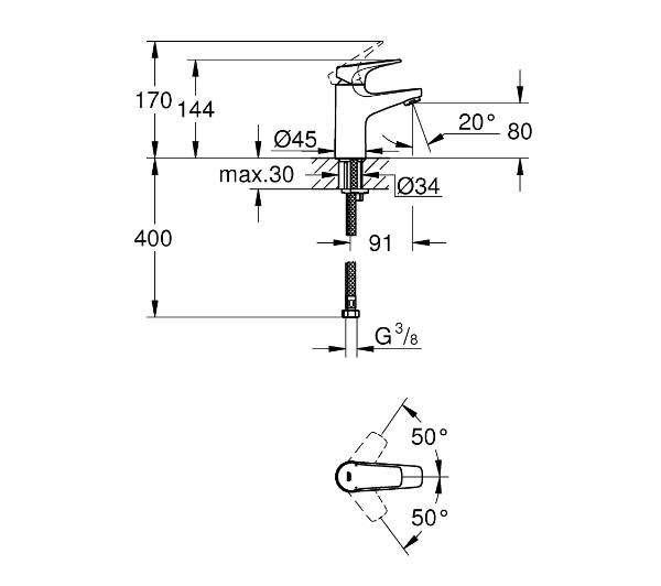 Wymiary techniczne baterii umywalkowej Grohe Bauflow 23752000-image_Grohe_23752000_2