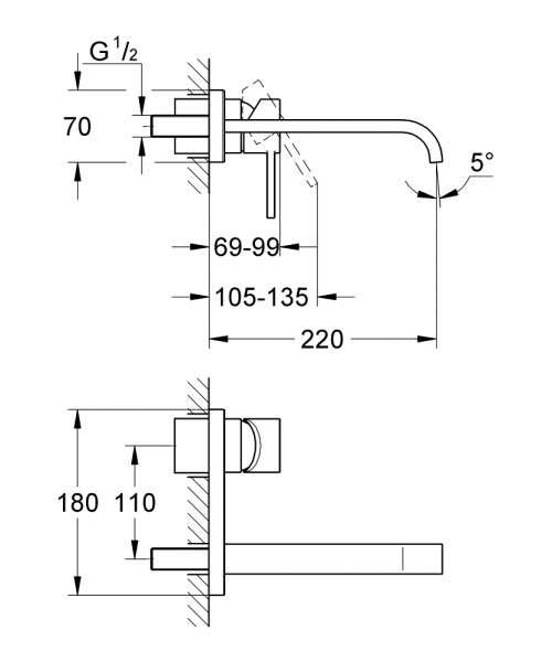 Wymiary techniczne baterii umywalkowej Grohe Allure 19386000-image_Grohe_19386000_4