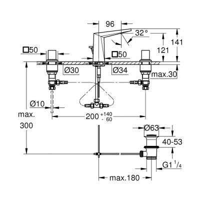 Rysunek techniczny baterii umywalkowej Allure Brilliant 20342 000-image_Grohe_20342000_3