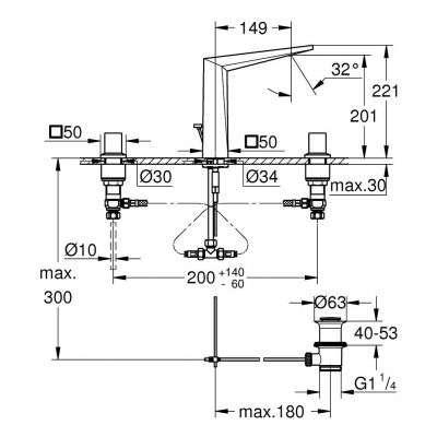 Rysunek techniczny baterii Allure Brilliant 20344 000-image_Grohe_20344000_3