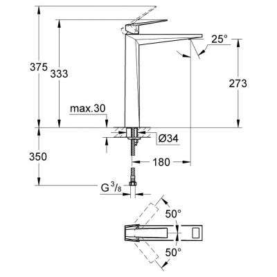 Rysunek techniczny wysokiej baterii umywalkowej 23114000-image_Grohe_23114000_3