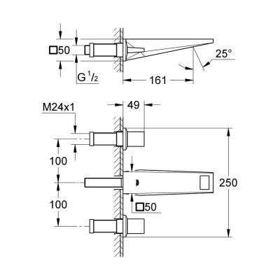 Rysunek techniczny baterii 20346000-image_Grohe_ 20346000_3