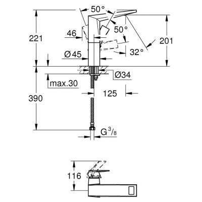 Rysunek techniczny baterii umywalkowej Allure Brilliant-image_Grohe_23112000_3