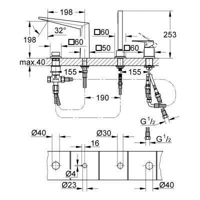 Wymiary techniczne baterii wannowej Grohe Allure Brilliant 19787001-image_Grohe_19787000_3