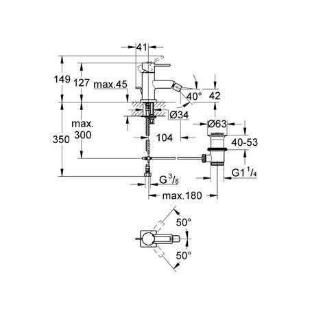 Rysunek techniczny baterii bidetowej Allure 32147 000-image_Grohe_32147000_3