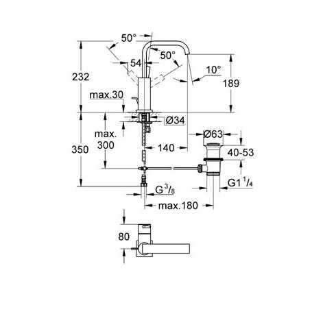 Wymiary techniczne baterii umywalkowej Grohe Allure 32146000-image_Grohe_32146000_4