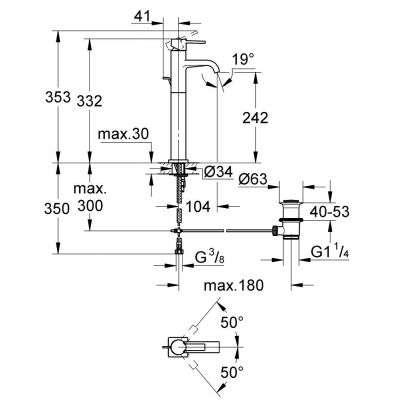 Rysunektechniczny baterii Allure 32760000-image_Grohe_32760000_3