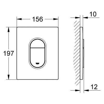 Wymiary przycisku spłukującego Grohe Arena Cosmo 38 844 SH0 do stelaży podtynkowych wc Grohe Rapid SL.-image_Grohe_38844SH0_4