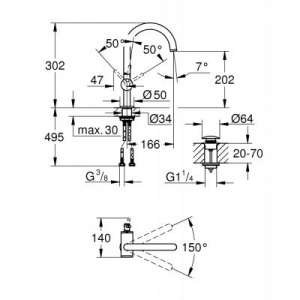 Wymiary techniczne krany Atrio -image_Grohe_32042DC3_2