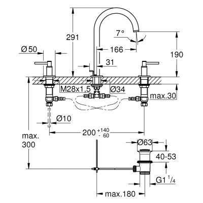 Rysunek techniczny baterii 3 otworowej Atrio 20009003-image_Grohe_20009003_3