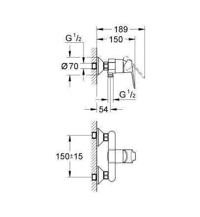 Rysunek techniczny baterii prysznicowej Bauedge Grohe 23333 000.-image_Grohe_23333000_3
