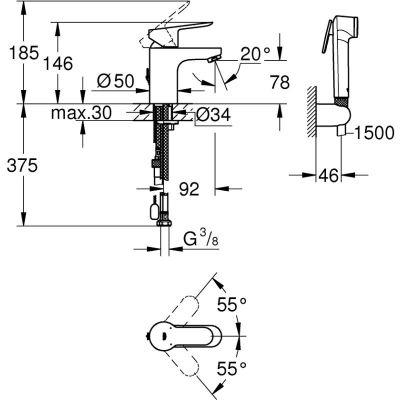 Wymiary techniczne baterii Bauedge z bidetką -image_Grohe_23757000_2