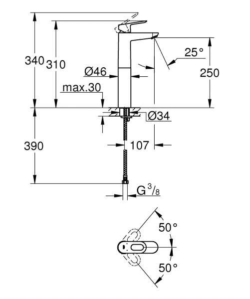 Dane techniczne baterii bauloop XL-image_Grohe_23764000_2