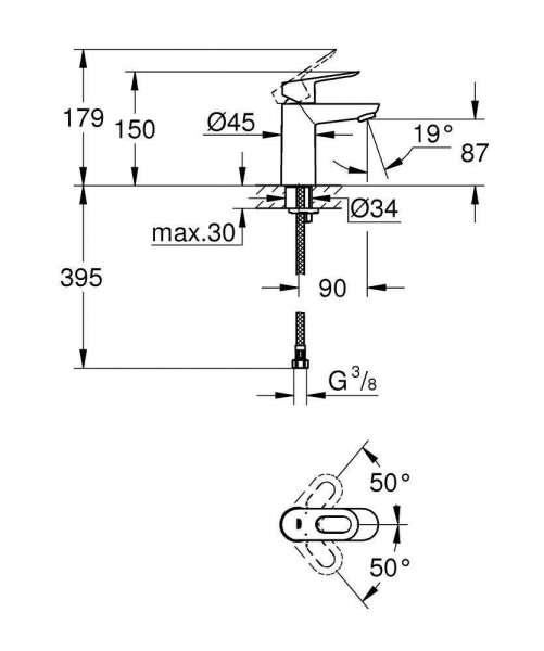 Wymiary techniczne baterii do umywalki Grohe Bauloop 23 337 000-image_Grohe_23337000_3