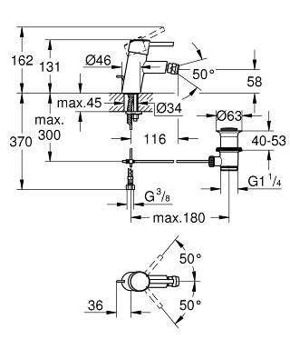 Wymiary techniczne baterii bidetowej Grohe Concetto 32208001-image_Grohe_32208001_4