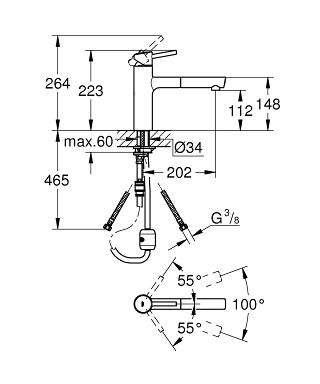 Rysunek techniczny baterii zlewozmywakowej Grohe Concetto 31 129 001-image_Grohe_31129001_4