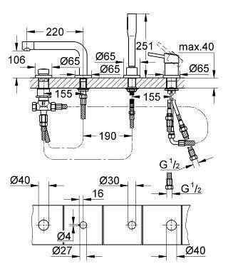 Wymiary techniczne baterii wannowej Grohe Concetto 19576001 - 4 otworowej.-image_Grohe_19576001_4