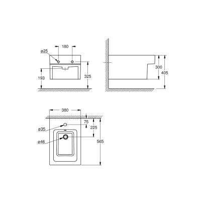 Wymiary technicze bidetu wiszącego Cube 3948600H-image_Grohe_3948600H_2
