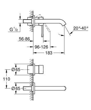 Wymiary techniczne podtynkowej baterii umywalkowej Grohe Essence 19408dc1.-image_Grohe_19408DC1_3