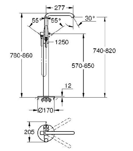 Rysunek techniczny baterii Grohe Essence 23491GL1 -image_Grohe_23491GL1_3