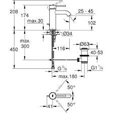 Wymiary baterii umywalkowej Grohe Essence 23 580 001-image_Grohe_23589001_3