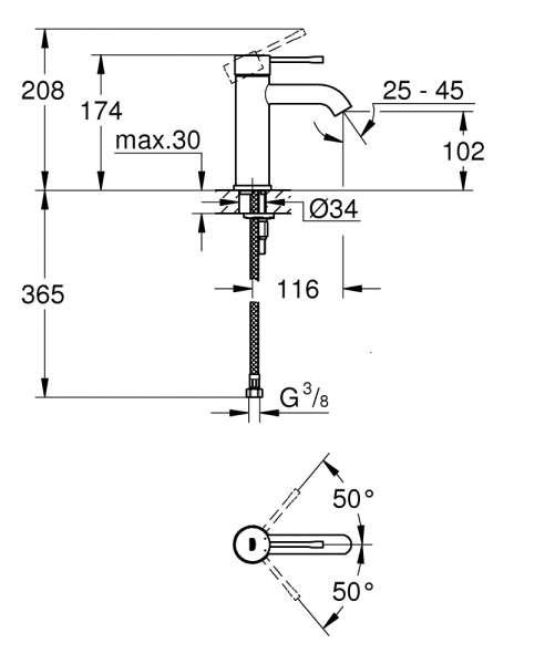 Wymiary techniczne baterii umywalkowej Grohe Essence 23590001-image_Grohe_23590001_3