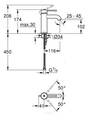 Rysunek techniczny baterii umywalkowej Grohe Essence 23590GN1.-image_Grohe_23590GN1_3