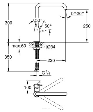 Rysunek techniczny baterii Essence 30269AL0 -image_Grohe_30269AL0_2