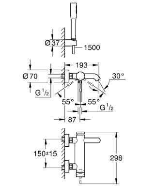 Wymiary techniczne baterii wannowej Essence New 33628001-image_Grohe_33628001_5