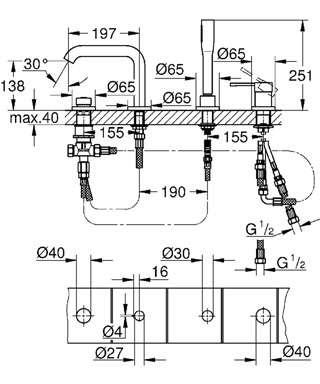 Wymiary techniczne baterii wannowej Grohe Essence New 19578 001-image_Grohe_19578001_4