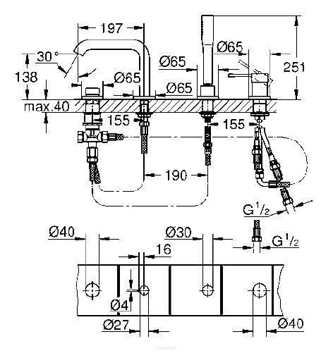Rysunek techniczny baterii Grohe Essence 19578A01 -image_Grohe_19578A01_2