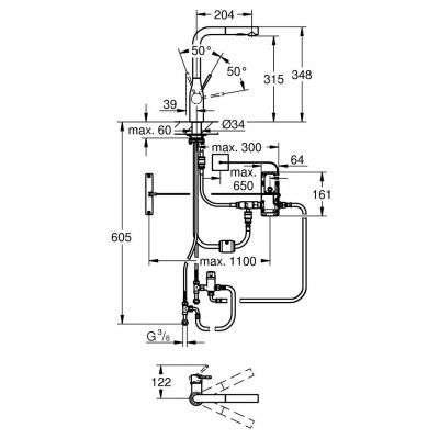 Wymiary techniczne baterii Essence-image_Grohe_30311000_2
