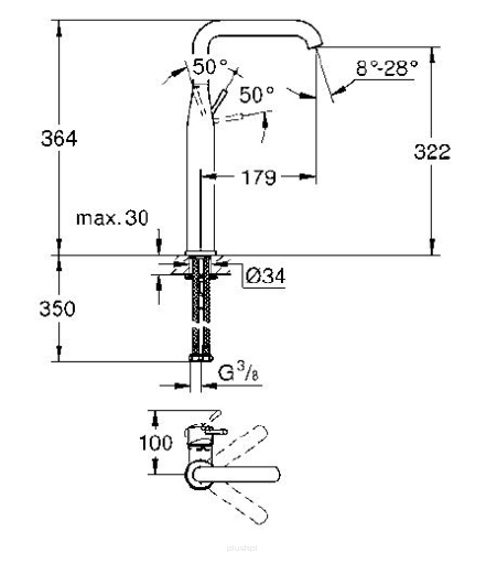 Rysunek techniczny baterii umywalkowej Grohe Essence 32901GL1.-image_Grohe_32901GL1_3