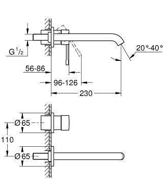 Rysunek techniczny podtynkowej baterii do umywalki z długą wylewką Grohe Essence 19967dc1.-image_Grohe_19967DC1_3