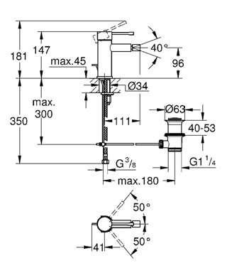 Wymiary technicznie baterii umywalkowej Grohe Essence New 32935001-image_Grohe_32935001_3