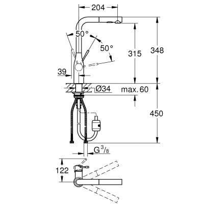 Rysunek techniczny baterii kuchennej Essence 30270 DC0-image_Grohe_30270dc0_3