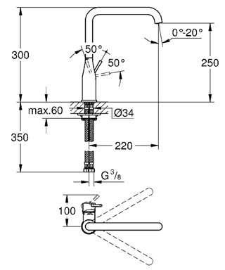 Wymiary techniczne baterii kuchennej Grohe Essence 30269000-image_Grohe_30269000_4