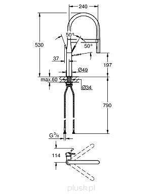 Wymiary techniczne baterii kuchennej Essence 30 294 000-image_Grohe_30294000_4