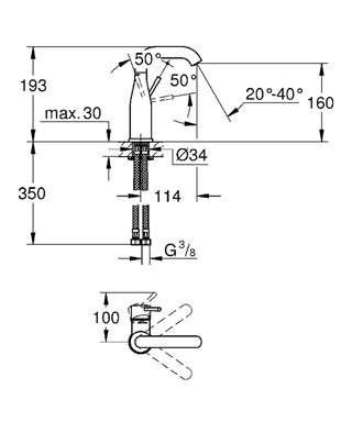 Wymiary techniczne średniej baterii umywalkowej Grohe Essence New 23463001-image_Grohe_23463001_5