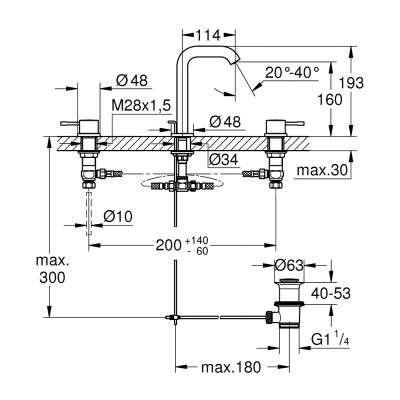 Rysunek techniczny baterii Essence 20 296 001-image_Grohe_20296001_3