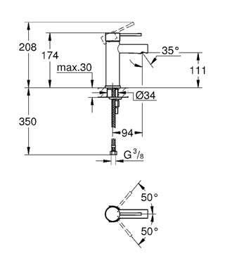 Wymiary techniczne baterii umywalkowej Grohe Essence New 34294001-image_Grohe_34294001_4